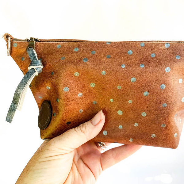 Silver Spotted Leather Clutch/Shoulder Bag