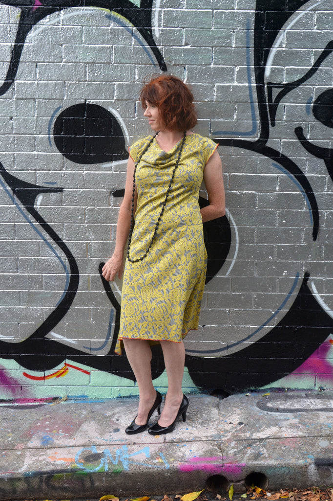 Mustard Cowl Neck Dress