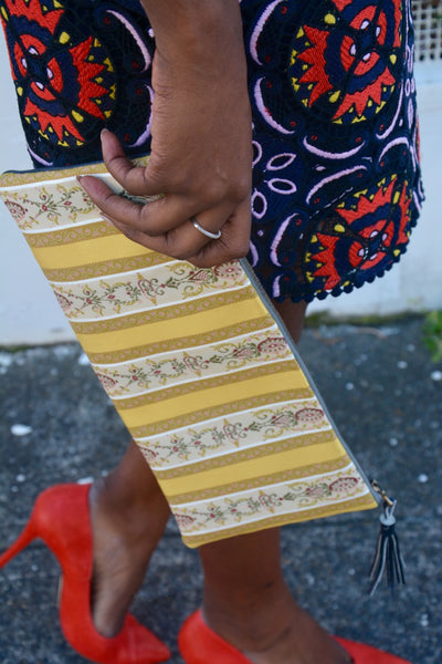 Yellow Striped Brocade Clutch