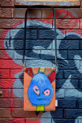 'Blue Guy' Original painting by artist Digby Webster iPad/shoulder bag