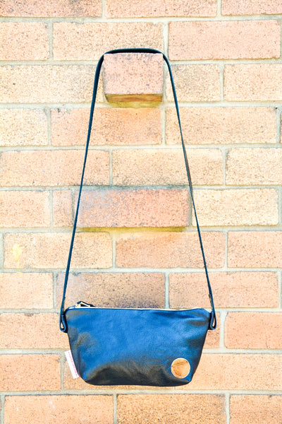 Metallic gold and terracotta leather shoulder bag