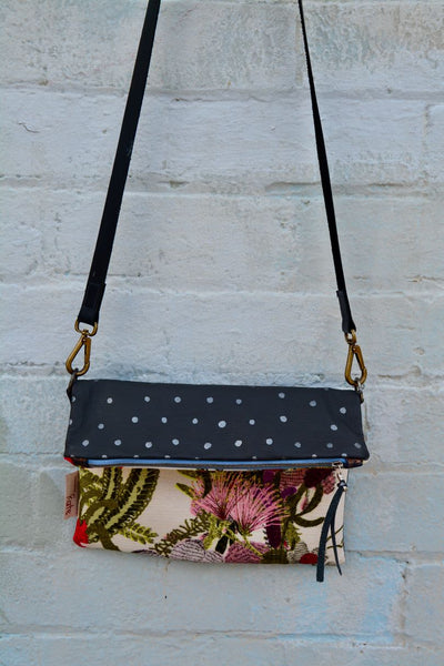 Botanical print Foldover bag