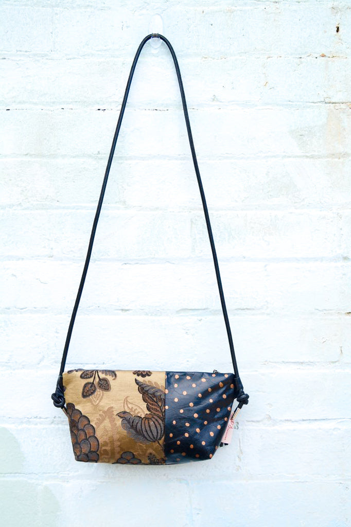Gold with Gold Dots leather shoulder bag
