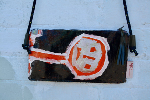 Orange and Silver Man Original painting by artist Digby Webster clutch/shoulder bag