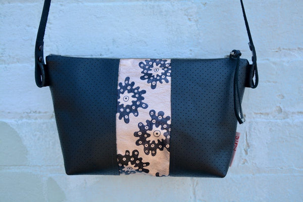 Splodgy Leather Handbag with painted insert by artist Catriona Secker- Large