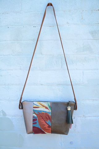 Summer Linen Leather Handbag- Large