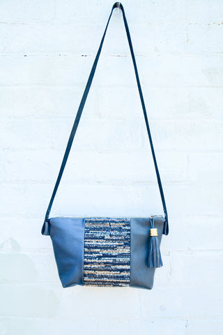 Blue Tones Leather Handbag- Large