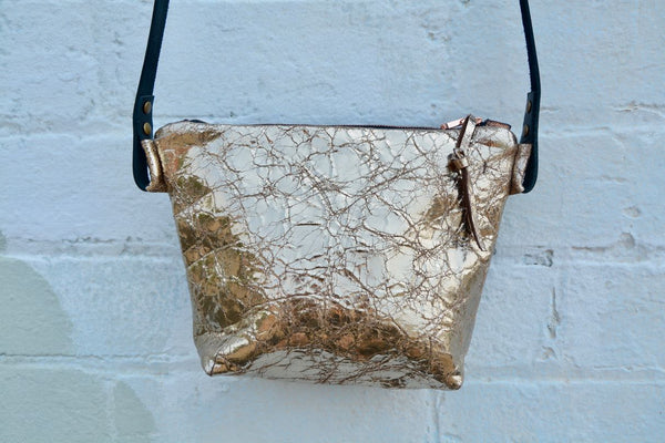 Gold Crinkle Cross-Body Bag