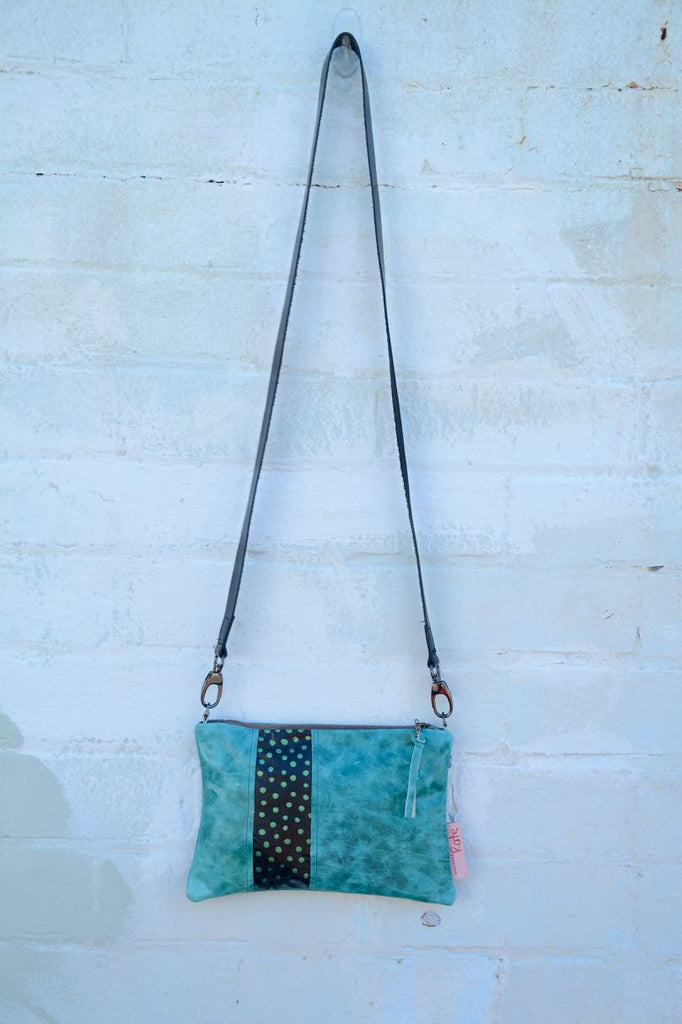 Turquoise and dots Leather small cross-body bag