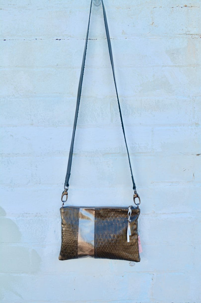 Snake skin leather small cross-body bag