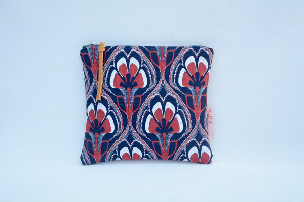 Navy and Red Floral Clutch