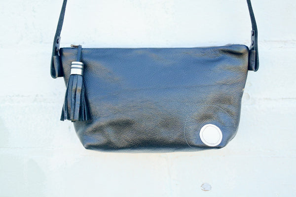 Globules Leather Handbag with painted insert by artist Catriona Secker- Large
