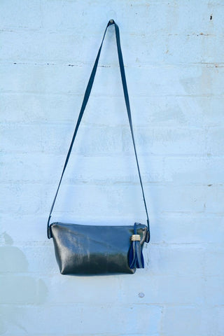 Deep Olive Green Leather Shoulder Bag