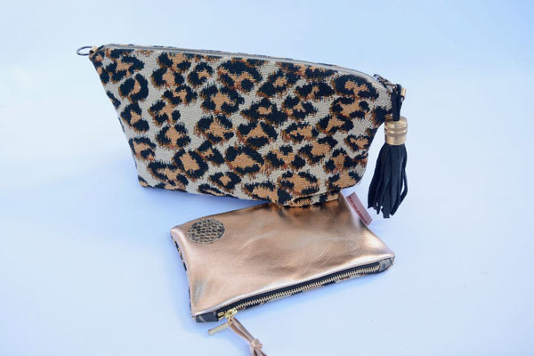 Leopard Spot and Gold Leather Purse