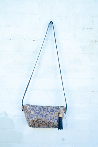 Glam! Snake-print Leather Shoulder Bag