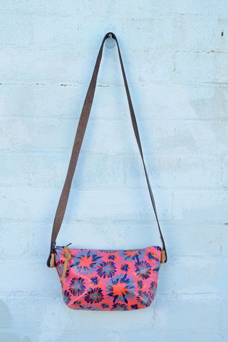 Floral Burst Pink Leather Shoulder Bag
