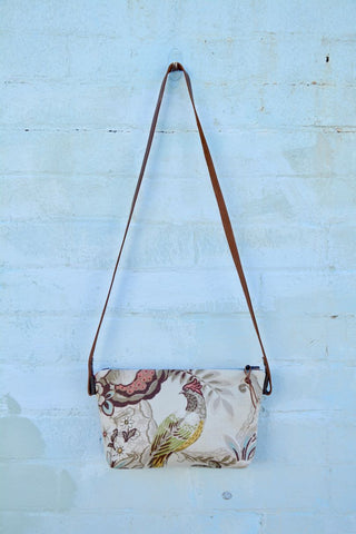 Bird on Linen/ Leather Shoulder Bag