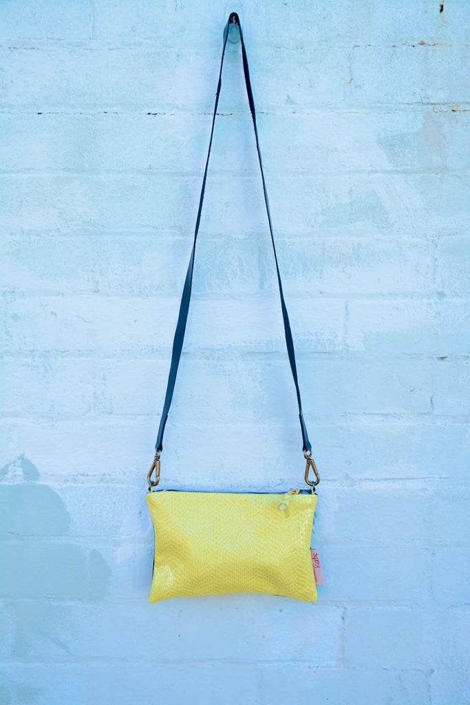Yellow Snake Leather Small Cross-Body Bag