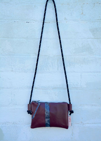 Snake Leather Stripe Cross-Body Bag