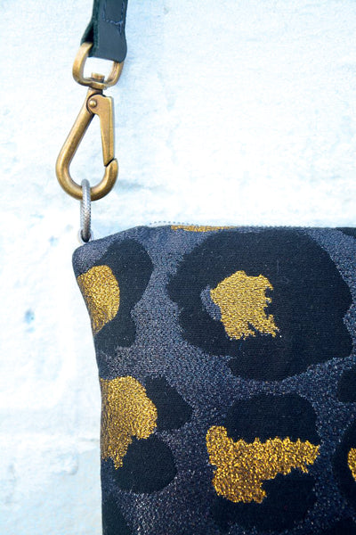 Dark Gold Leopard Print and Leather small cross-body bag