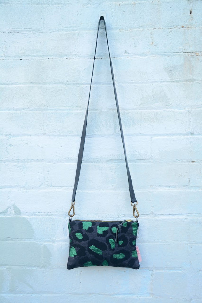 Emerald Metallic Leopard Print and Leather small cross-body bag