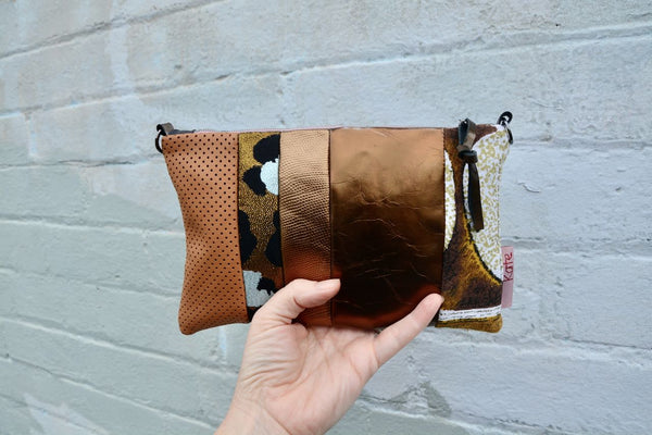 Gold Tones Leather small cross-body bag
