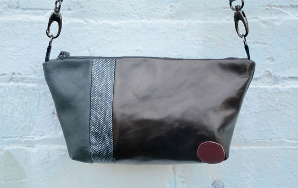 Silver and Grey Leather Shoulder Bag