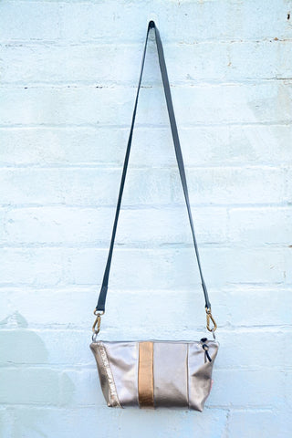Silver Tones Leather Shoulder bag