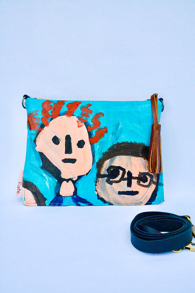 Faces  Original Painting by artist Digby Webster Cross Body bag