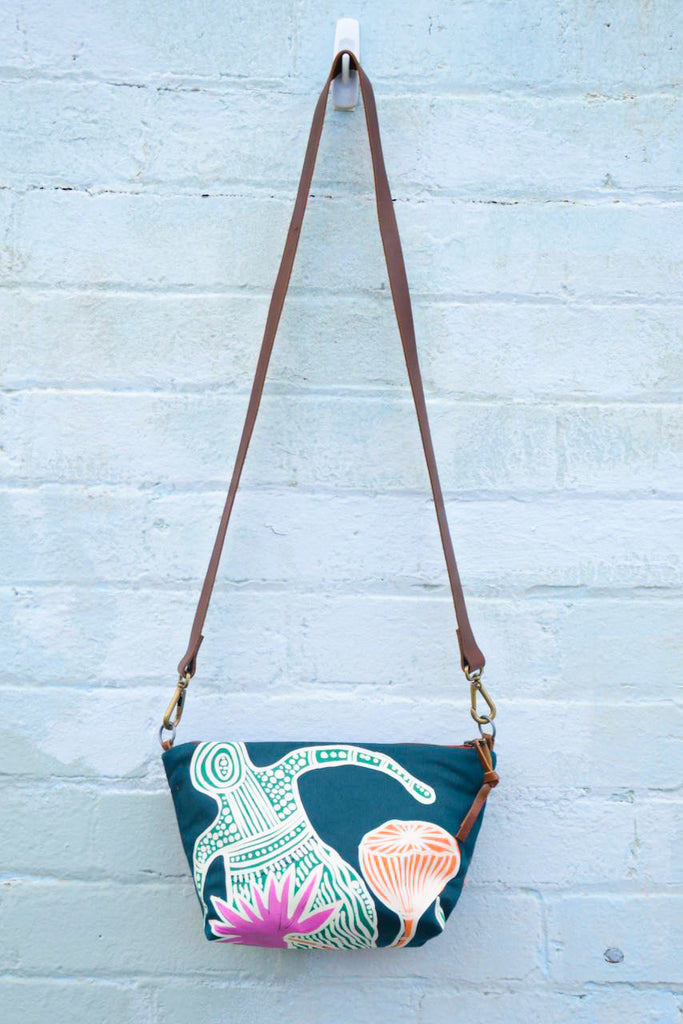 Mermaids Indigenous Print and Leather  Shoulder Bag - Large