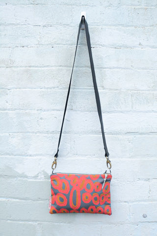 Rockholes Indigenous Print and Leather cross-body bag