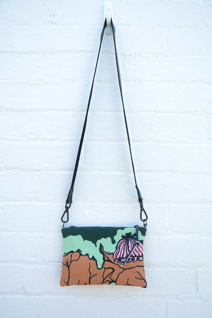 Billabong Indigenous Print and Leather cross-body bag