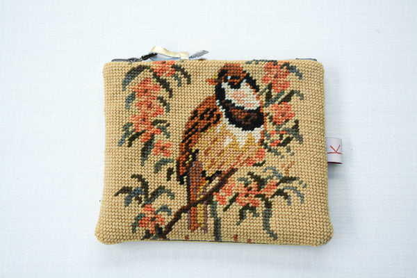 Tweet Tweet! Bird Tapestry and Gold Leather Purse