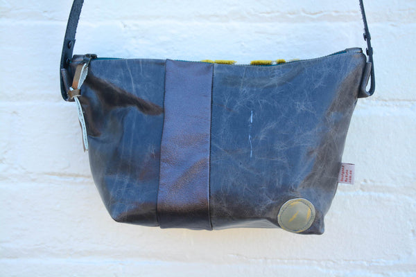 Velvet Leaves Leather Handbag- Large