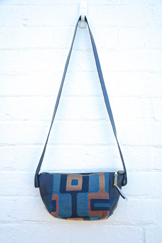 Groovy! Pewter And Bronze Upholstery leather shoulder bag