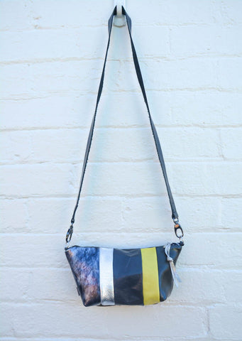 Yellow and Grey Re Purposed Leather Shoulder Bag