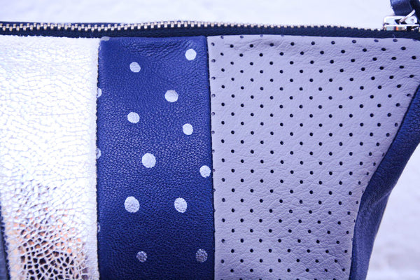 Grey and silver Spots Re Purposed Leather Shoulder Bag