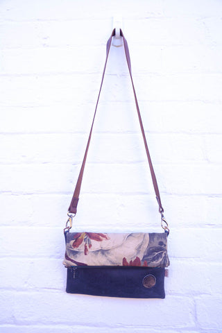 Night Forest Printed Linen/Leather Fold over bag