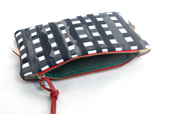 Grid Leather Purse