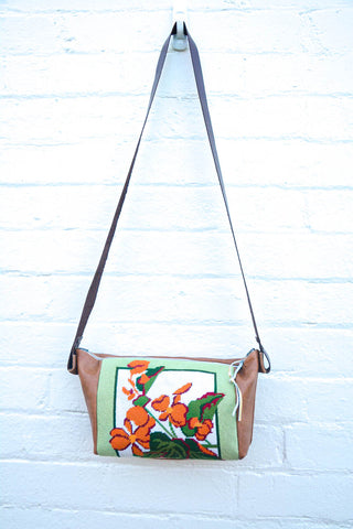Orange Flower Tapestry Leather Handbag- Large