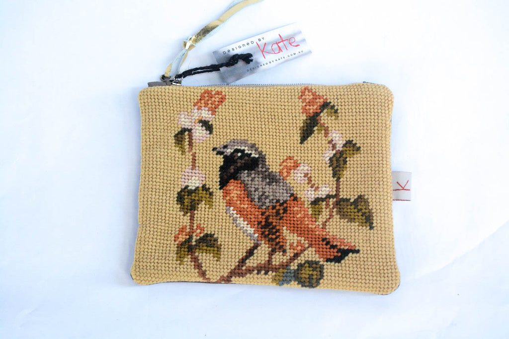 Tweet Tweet! Bird Tapestry and Brown Leather Purse