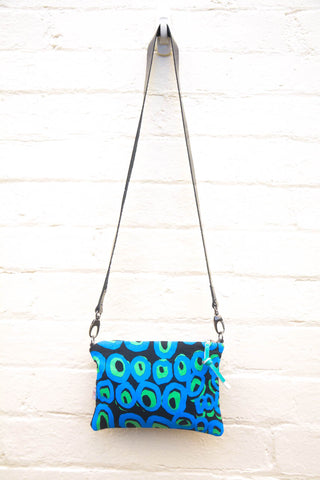 Blue and Black Rockholes Indigenous Print cross-body bag