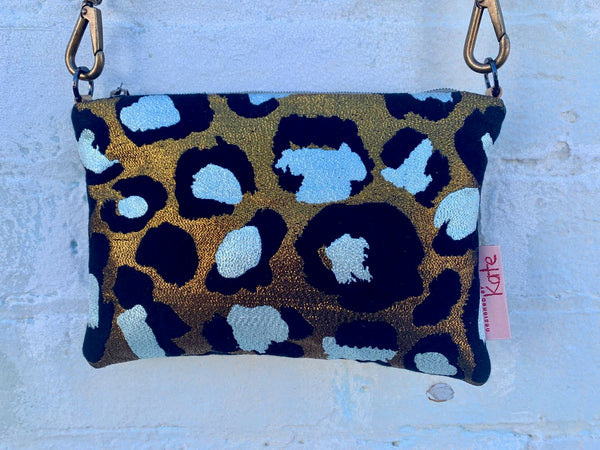 Gold Leopard Print and Leather small cross-body bag