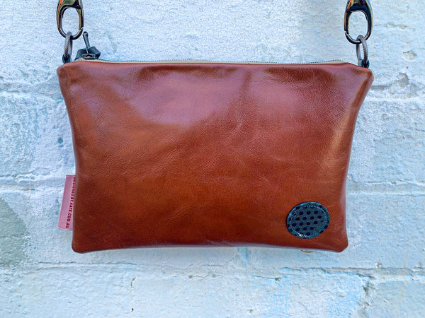 Brown Tones and Gold Leaves Leather small cross-body bag