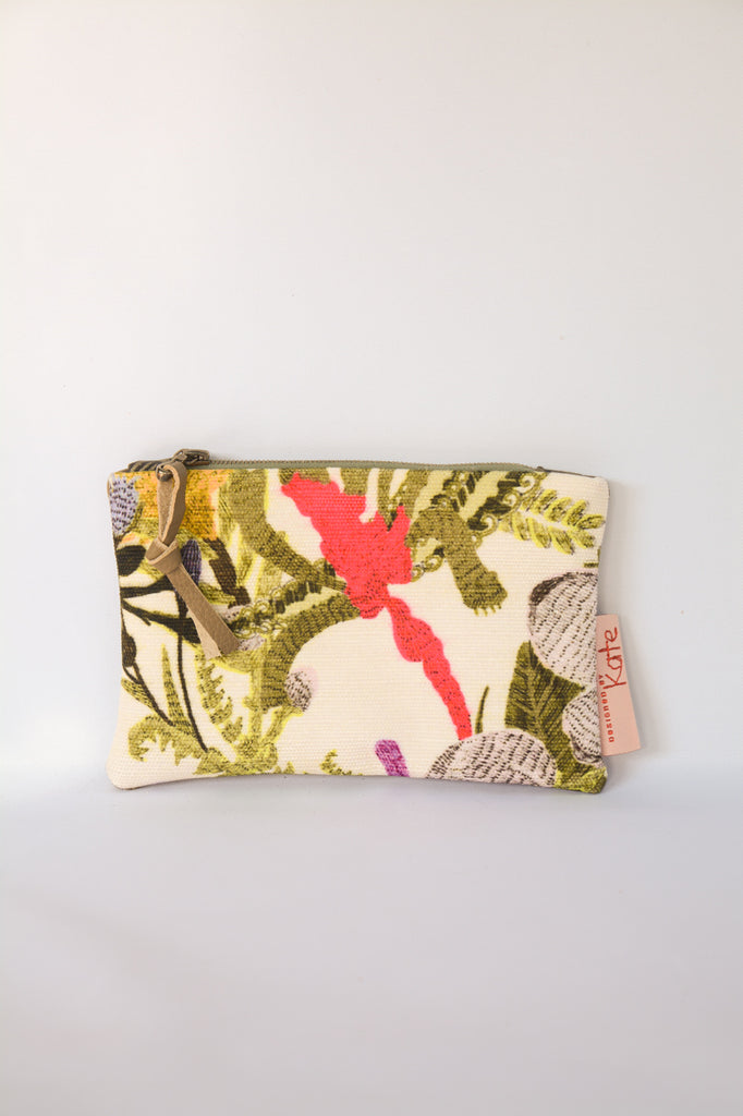 Botanical Print Leather Purse
