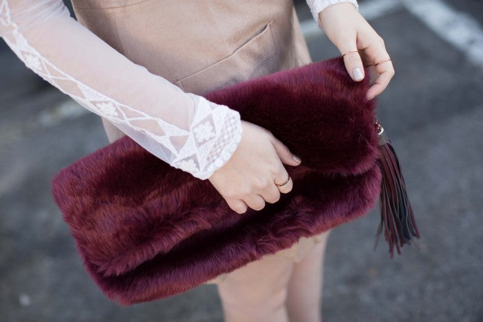 asos fur clutch