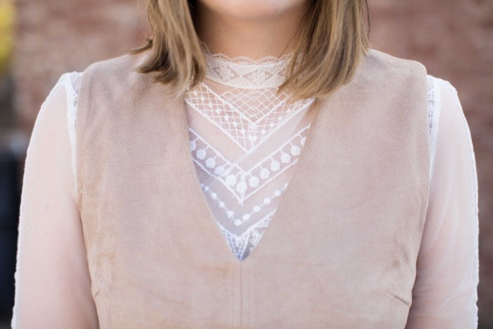 sheer white crochet blouse