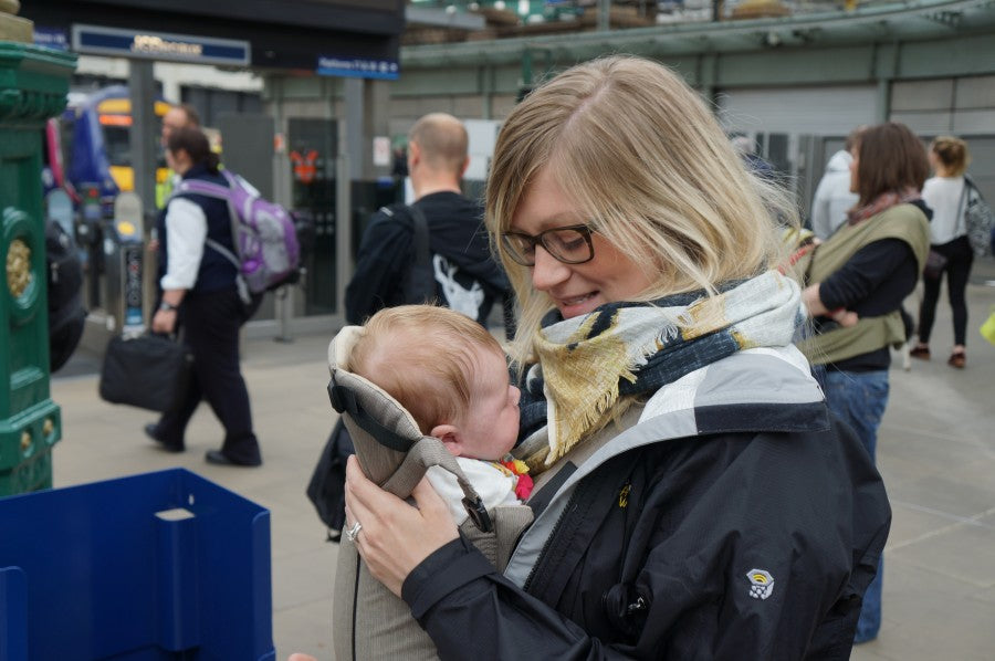 Baby Wearing at the Train Station