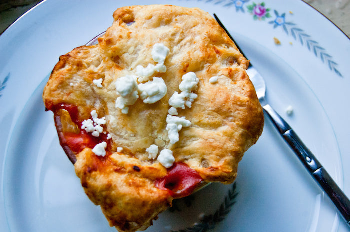 tomato, tomato soup, tomato soup and goat cheese, goat cheese, easy recipes, lazy recipes, pot pie, tomato pot pie, vegetarian pot pie, tomato soup pot pie