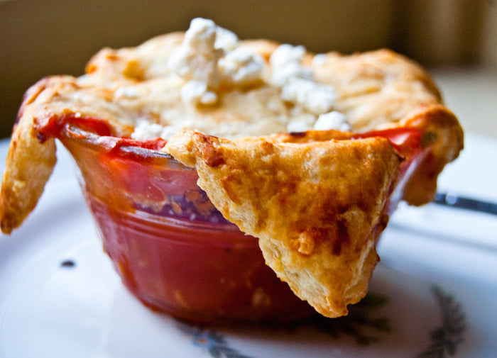 tomato, tomato soup, tomato soup and goat cheese, goat cheese, easy recipes, lazy recipes, pot pie, tomato pot pie, tomato soup pot pie, vegetarian pot pie